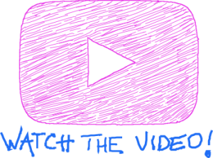 "Hand Drawn Play Button Icon with the Text ""Watch the Video!"" Displayed Below"