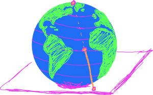 Drawing of the Point at Infinity as the North Pole of the Earth